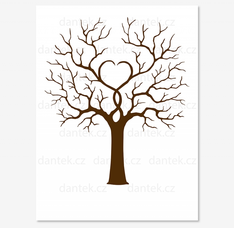 4 hnědý svatební strom pro náhled bez ptáčků